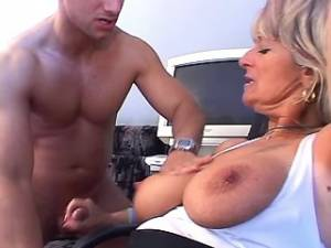 Busty granny sucking cock and gets fuck in asshole