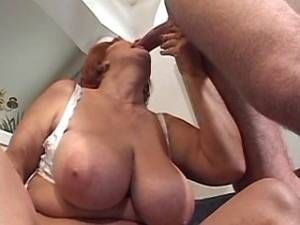 Plump granny greedily sucks strong cock of guy