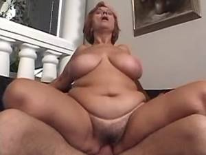 Busty granny fucked by guy and gets cum in mouth