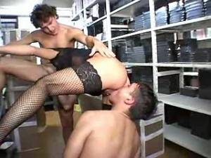 Horny guys share hot depraved mature in office