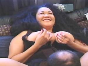 Chubby asian milf with big ass gets cum on face