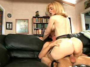 Depraved mature in stockings gets cum on pussy