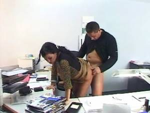 Mature secretary gets cumload on boobs after work