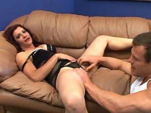 Lustful man hard drills spoiled mature on sofa