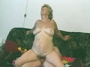 Naughty granny with hairy pussy fucked and get cum