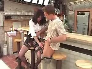 Guy drills mature in stockings in bar after work