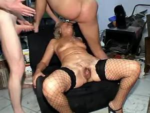 Guys drill poor granny in all holes in gangbang