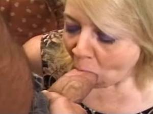 Granny in stockings licked and sucks hard cock