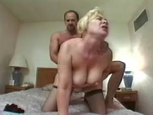 Lusty plump granny in stockings gets cum on face