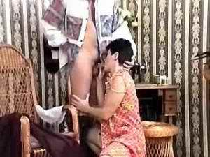 Granny in stockings sucks fresh cock and fucks