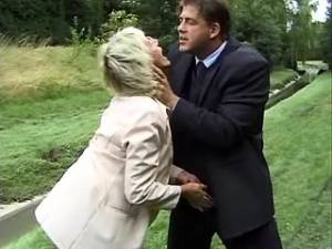 Old lady sucks appetizing cock of boss in nature
