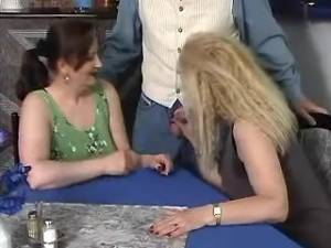 Beautiful aged lady gets hot facial in group sex