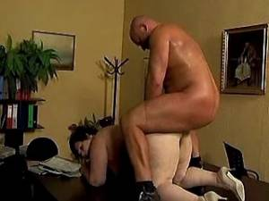 Horny fat granny gets cumload on tits in office