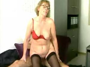 Granny rides cock and gets cum in mouth