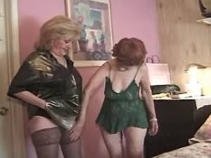 Two lusty grannies share huge chocolate cock