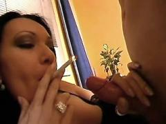 Mature with cigarette seduces guy