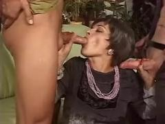 Charming brunette milf in threesome