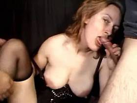 Depraved mature woman in gangbang