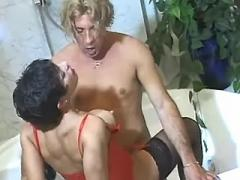 Attractive mom milking dude in bath