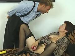 Black haired old lady fucked by guy