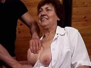 Grandma with huge flabby tits sucks