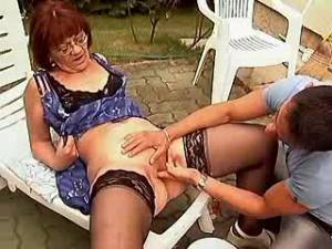 Aged woman sucks and jumps on cock