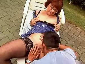 Oldie poked by handsome guy outdoor