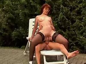 Horny granny bouncing on beefy cock