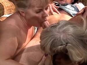 Two dirty mature sluts serve client