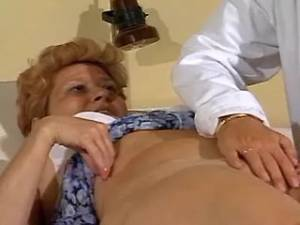 Curly aged lady drilled in hospital