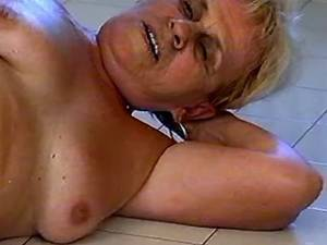 Horny fat granny gets anal on floor