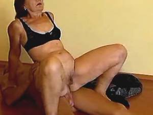 Depraved plump granny jumps on cock