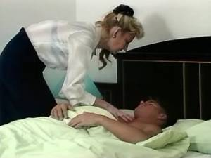 Aged lady sucks cock of young lover