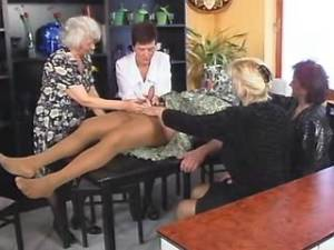 Four grannies suck one cock by turn