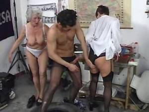Dude serving two lustful old women