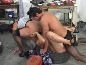 Hunk fucking two grandmas in garage