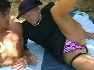 Old lady sucks young cock in nature