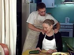 Hunk drilling aged cook in kitchen