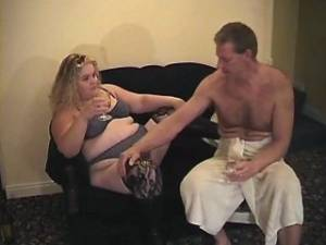 Fat blond milf and man enjoy oral sex