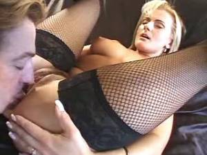 Blonde mature in stockings screwed