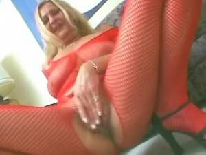 Old lady in red stockings prefers professional men
