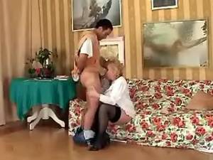 Lewd old lady crazy fucked by horny guy on sofa