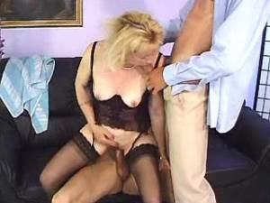 Naughty blonde granny gets double cumload in mouth