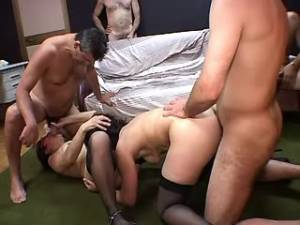 Men share granny in stockings and jizz in mouth