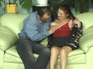 Spoiled granny has fun with horny friend on sofa