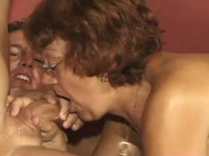 Horny muscular guys jizz on face of lusty granny