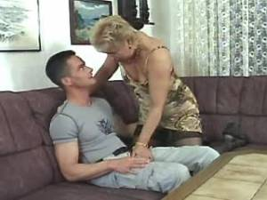 Lewd granny in stockings sucks desired hard cock