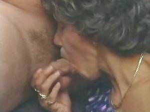 Skinny granny in stockings greedily sucks cock