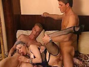 Lusty grannies in stockings get cum in wild orgy