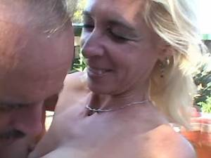 Lusty blonde granny licked by horny man outdoor